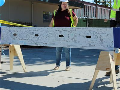 Cabrillo Middle School beam signing event at the new locker building