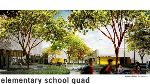 Rendering of the Elementary School Quad by LPA Architects, Inc.