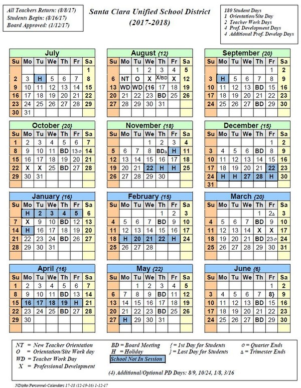 photo regarding Printable School Year Calendar called 2017-2018 College 12 months Calendar Offered