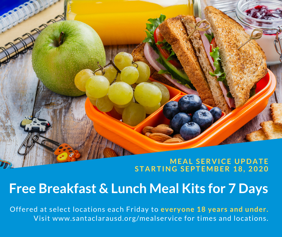 Free breakfast and lunch meal kits for 7 days each Friday
