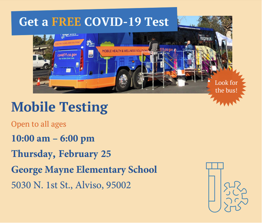 Free COVID19 Mobile Testing for all ages 10am-6pm February 25 Mayne Elementary School