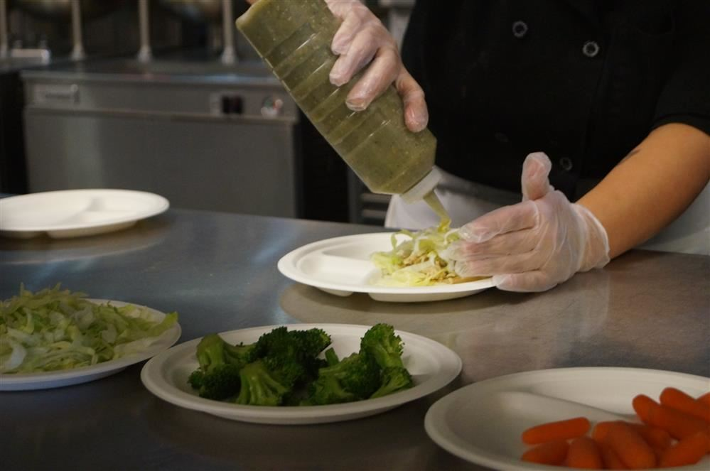 Food prep at Santa Clara High School