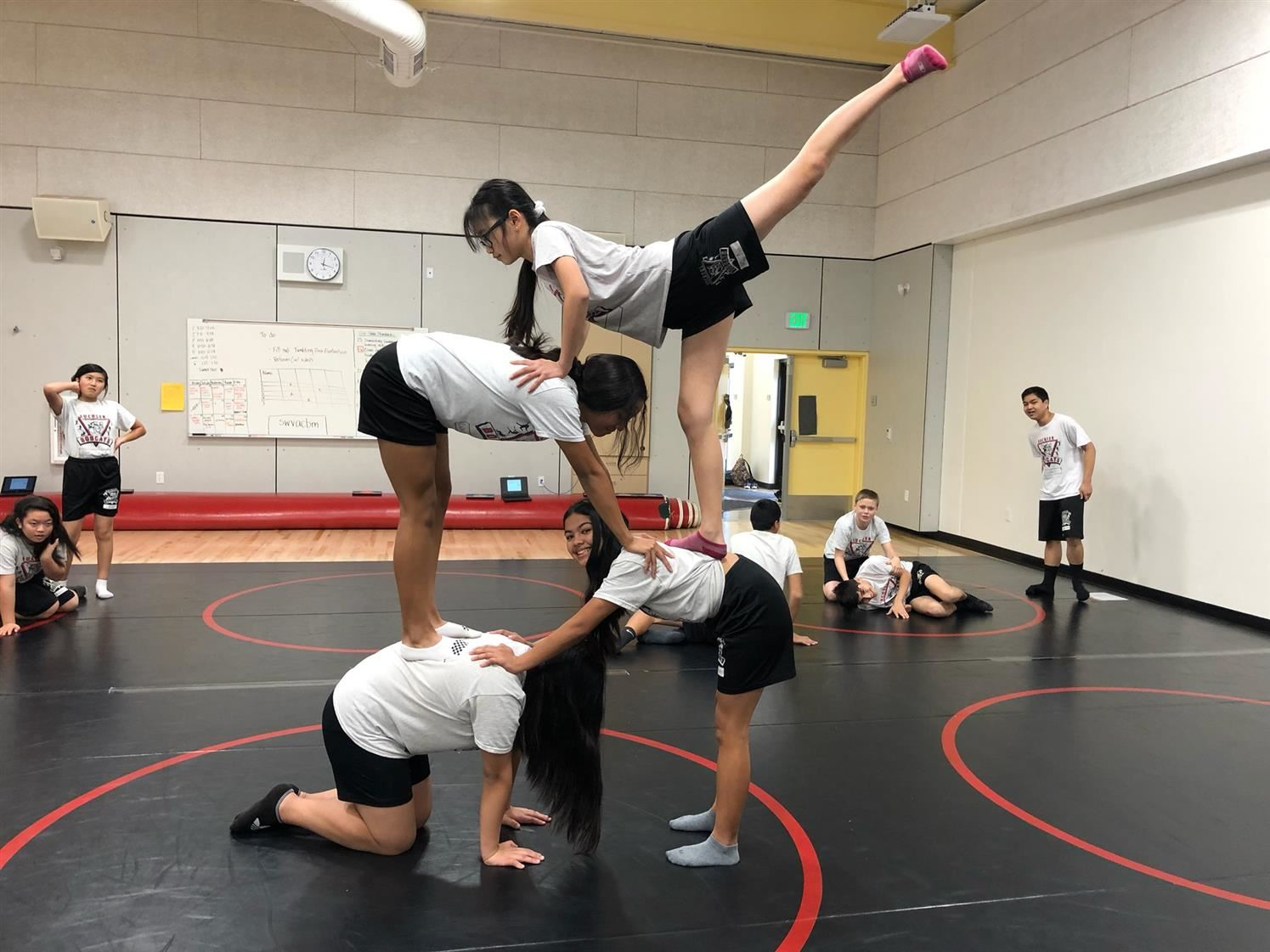 Physical Education Students practice tumbling